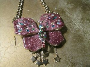 Betsy Johnson Rare Peacock Multi Rhinestone Large Fashion Necklace