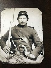civil war Military Soldier With Rifle & Knife tintype C202RP