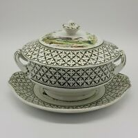 "Antique S.Hancock & Sons Coronaware Lidded Tureen On Stand ""Chantilly"" Pattern."