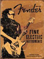 "Fender Guitar Distressed Retro Vintage Nostalgic Metal Tin Sign 9""x12"""