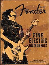 "Fender Guitar Distressed Retro Vintage Nostalgic Metal Sign 9""x12"""