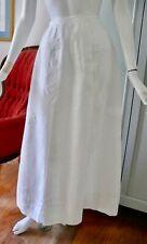 "Victorian White Linen A-line Skirt with Flower Application Xs 24"" waist"