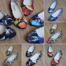 Women Multicolor Butterfly Pattern Loafers Ballerina Pumps Ballet Flat Shoes