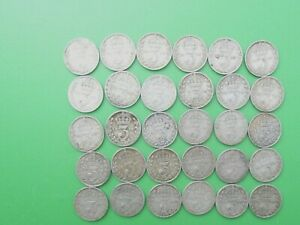 JOB LOT 30 SILVER THREEPENCE COINS PRE1920