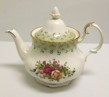 ❤❤ HTF RARE ROYAL ALBERT OLD COUNTRY ROSES ENGLAND GREEN ACCENT LARGE TEAPOT ❤❤