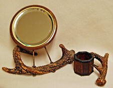 Antique Table Top Portable Vanity Horn Shaving Mirror Brush Stand Hunting Hunter