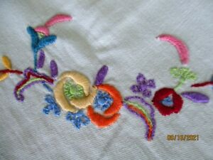 2 Vintage 1940's Hand Embroidered Luncheon Bridge Tablecloths