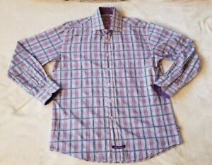 English Laundry Mens Shirt Size 16.5 34/35 Purple Checked Embroidered Logo L/S