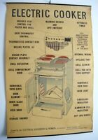 1930's RARE Vintage Industrial Wall Art Electrical Appliance Poster ~ Cooker