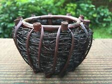 Thai Cute Handcraft Wicker Circle Storage Basket Souvenir,Gift , Multipurpose