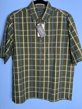 NWT WoolRich Mens Medium Vented Fishing Short Sleeve Button Down Green Checked
