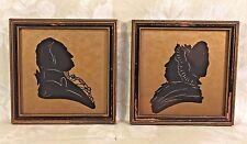 Antique Silhouettes of Martha & George Washington in Old Frames