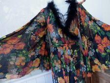 Agent Provocateur silk robe M L long kimono gown floral marabou FLEURA robe