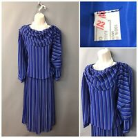 Vintage Blue Mix Striped Pleated Retro Dress UK 22 EUR 50 Made in UK