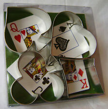 NEW 4 SUITS CARD NIGHT METAL COOKIE BISCUIT CUTTERS SET HEART DIAMOND SPADE CLUB