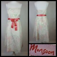 Monsoon Cream Pink Floral Print Summer Dress Original RRP £160 Size UK 16