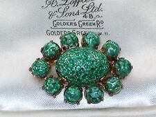 VINTAGE JEWELLERY EASTER EGG CABOCHON FOIL ART GLASS CZECH BROOCH/PIN SHAWL