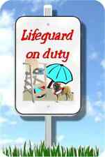 "Leonberger lifeguard on duty sign metal garden novelty 8""x12"" pool yard dog"