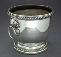 Vintage silver plate large wine cooler ice bucket tiger face handles gadroon