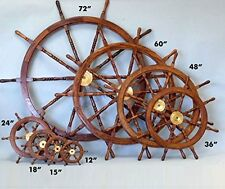 Nautical Wooden Ship Steering Wheel Pirate Decor Wood Brass Fishing Wall Boat 24