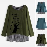 Mode Femme Haut Shirt Col Rond Manche Longue Coton Impression Simple Tops Plus