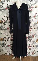 *Vintage 70s Laura Ashley* Navy Cord Sailor Dress Size 14 Downton Abbey Gatsby