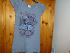 Grey hip length top, frilled cap sleeves, rhinestone rose print, NEXT,12 years