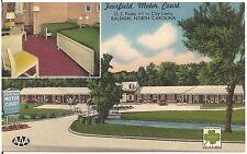 Fairfield Motor Court in Raleigh NC Roadside Postcard