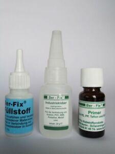 Ber-Fix Kunststoff Klebe-Set mittel für PE, PP, Teflon und Silikon