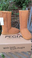 luxury PEGIA 100% genuine woolmark suede sheepskin tan BOOTS bnib uk6 39 NEW!