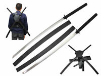 "41.75"" Deadpool Dual Two Ninja Swords with X Back Harness Carrying Scabbard"