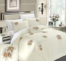 Luxury 5PC King Size Quatrefoil Embroidered Sage Green/Brown/Beige Comforter Set