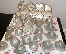 Lot 28 Vintage Mini Aluminum Metal Pans Molds Bundt Tart Baking Tins