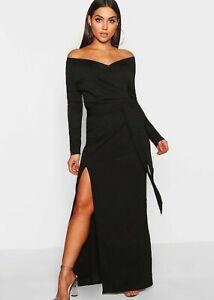 boohoo off shoulder dress UK 6 - 8 women's thigh slit belted ladies black maxi