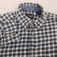 Arrow Men's Flannel Shirt Long Sleeve Size Small Plaid Green White
