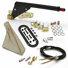 Floor Mnt Black E-Brake Handle~Tan Boot, Black Ring, Cable Kit, Ford Clevis' rat