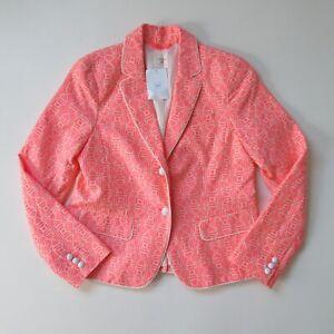 NWT GAP Academy Blazer in Neon Pink Jacquard Double Button Cotton Jacket 10