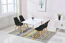 Dining Room Furniture Table & 4pc Black Side Chairs Beach Wood Legs Modern Look