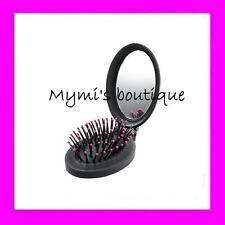 Brosse à cheveux AVON pliable de voyage et compacte noire avec miroir - neuve