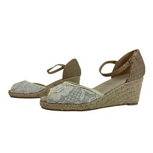 NEW LOOK Ladies Womens Shoes Size UK 6 EU 39 Beige Floral Espadrille Wedge Heels