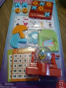 """My Life As 27 Piece Game Night Play Set for 18"""" Dolls NEW B"""