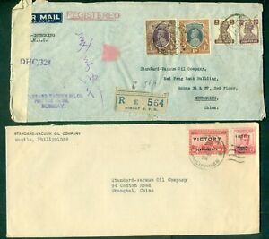 CHINA 1940's Incoming Wartime mail from PHILIPPINES, INDIA, NEW ZEALAND & GB, VF