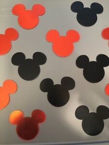 NEW 20pc Black & Red Mickey Mouse Mirror Surface Wall Art Decor Acrylic Stickers