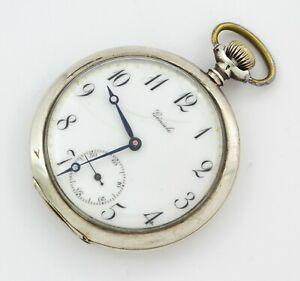 GENIALE antique mechanical open face solid silver 0.875 pocket watch enamel dial