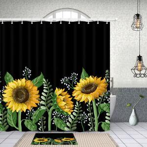 Sunflower Black Background Shower Curtain Waterproof Fabric Bathroom Decor Set