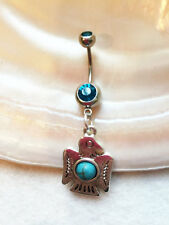 Surgical Steel Belly Button Ring Naval Ring Turquoise Bead with Bird Turquoise