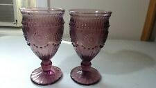 "2 Pioneer Woman ""Adeline""  Purple/Amethyst PLUM Glass GOBLETS  12 oz"