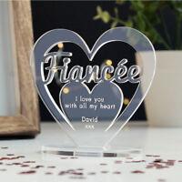 Personalised Heart Message Ornament Keepsake Fiancée Fiancee Engagement Gift