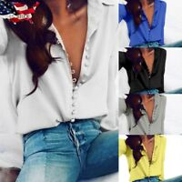 US Sexy Women Casual Office Tops Ladies Loose Long Sleeve Blouse Lapel Shirt Top