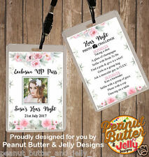 PERSONALISED FLORAL HENS NIGHT VIP PASS & PHOTO CHALLENGE LANYARD - DOUBLE SIDED